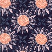 Grand Canal by Kate Spain - 5054 - Orange & Pink Sunflowers on Navy Blue - 27251 12 - Cotton Fabric